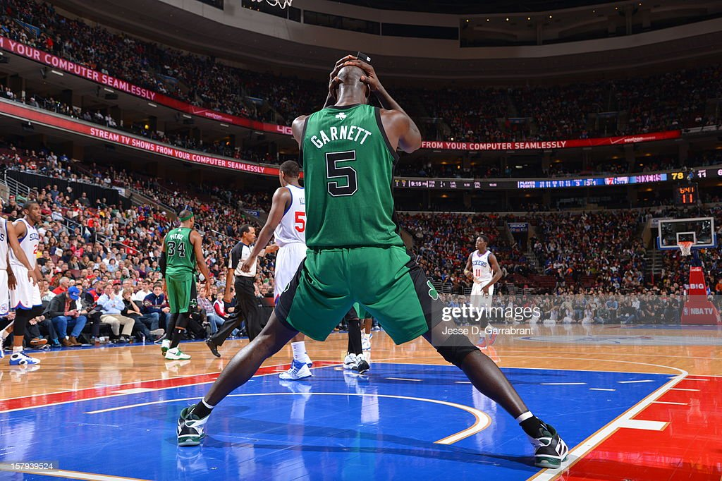 <a gi-track='captionPersonalityLinkClicked' href=/galleries/search?phrase=Kevin+Garnett&family=editorial&specificpeople=201473 ng-click='$event.stopPropagation()'>Kevin Garnett</a> #5 of the Boston Celtics after the overtime loss against the Philadelphia 76ers at the Wells Fargo Center on December 7, 2012 in Philadelphia, Pennsylvania.