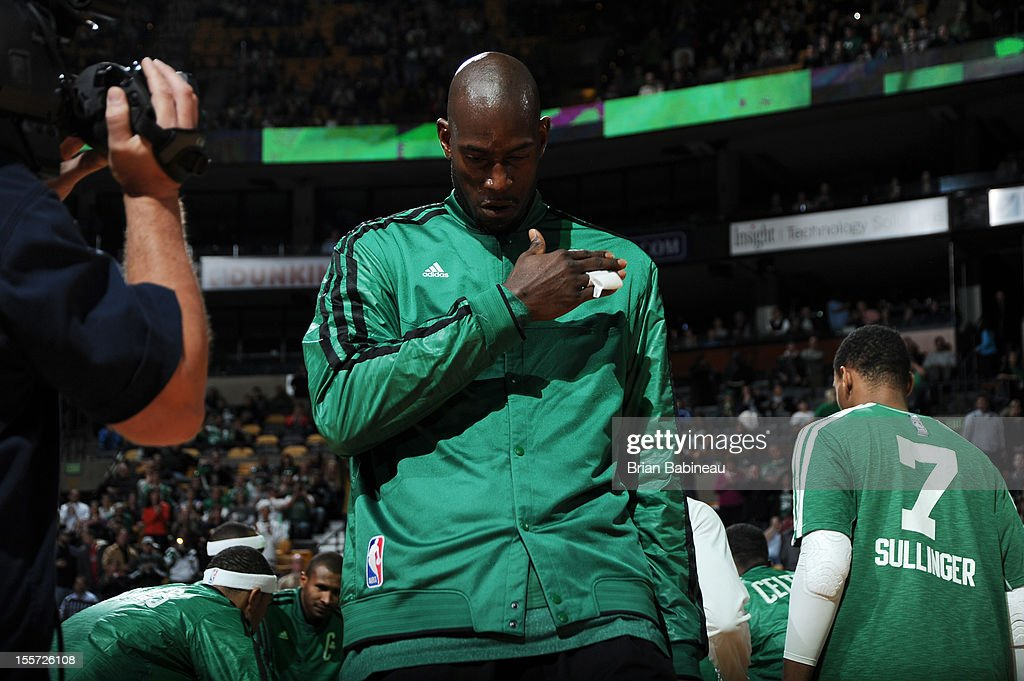Kevin Garnett #5 of the Boston Celtics against the Washington Wizards on November 7, 2012 at the TD Garden in Boston, Massachusetts.