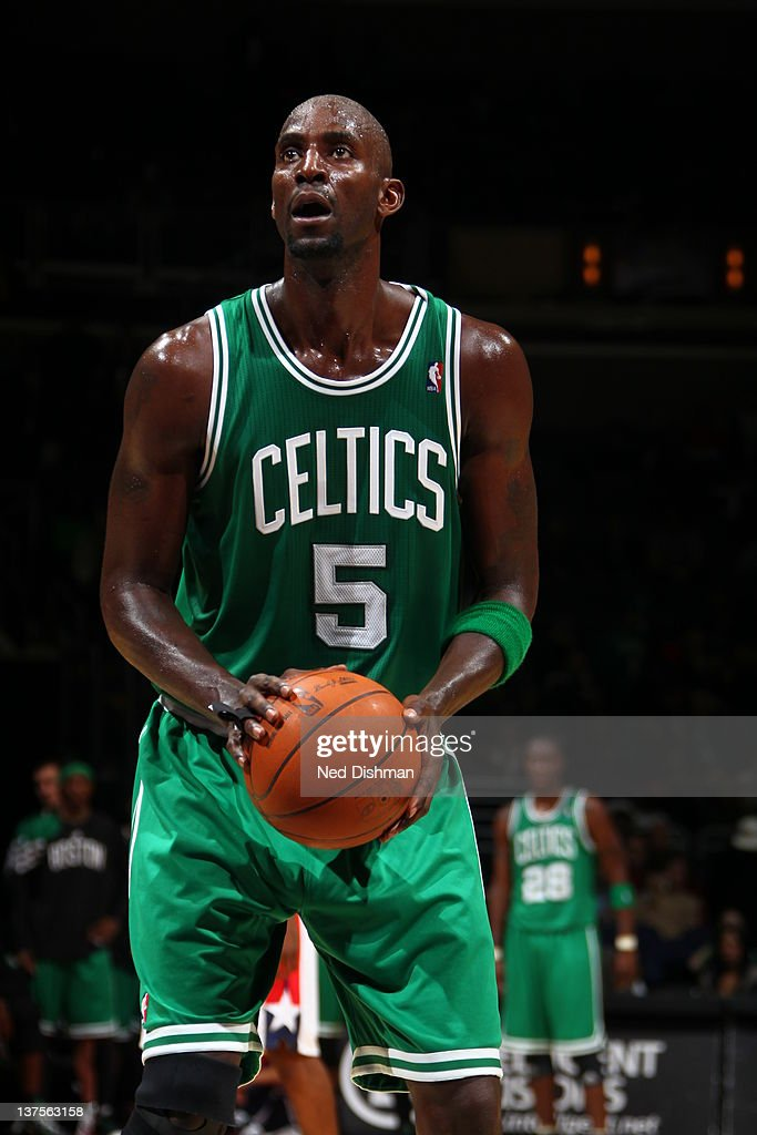 <a gi-track='captionPersonalityLinkClicked' href=/galleries/search?phrase=Kevin+Garnett&family=editorial&specificpeople=201473 ng-click='$event.stopPropagation()'>Kevin Garnett</a> #5 of the Boston Celtics aims for a free throw during the game between the Washington Wizards and the Boston Celtics at the Verizon Center on January 22, 2012 in Washington, DC.