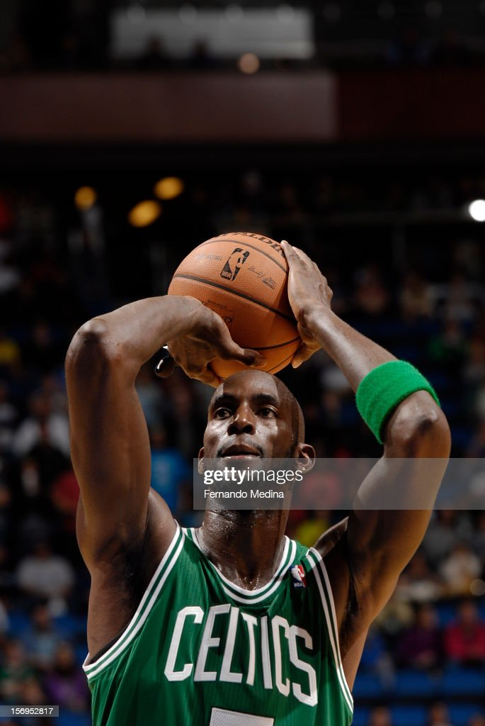Kevin Garnett #5 of the Boston Celtics aims for a free throw during the game between the Boston Celtics and the Orlando Magic on November 25, 2012 at Amway Center in Orlando, Florida.