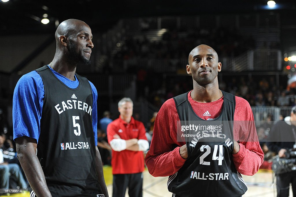 Kevin Garnett #5 of the Boston Celtics and Kobe Bryant #24 of the Los Angeles Lakers talk during the NBA All-Star Practice in Sprint Arena at Jam Session at Jam Session during NBA All Star Weekend on February 16, 2013 at the George R. Brown Convention Center in Houston, Texas.