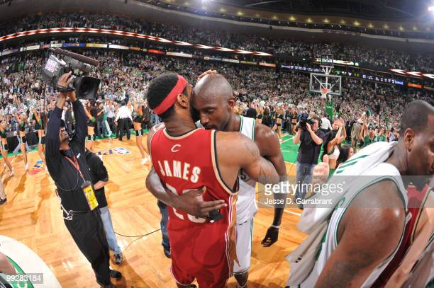 Kevin Garnett of the Boston Celtics and LeBron James of the Cleveland Cavaliers shake hands in Game Six of the Eastern Conference Semifinals during...