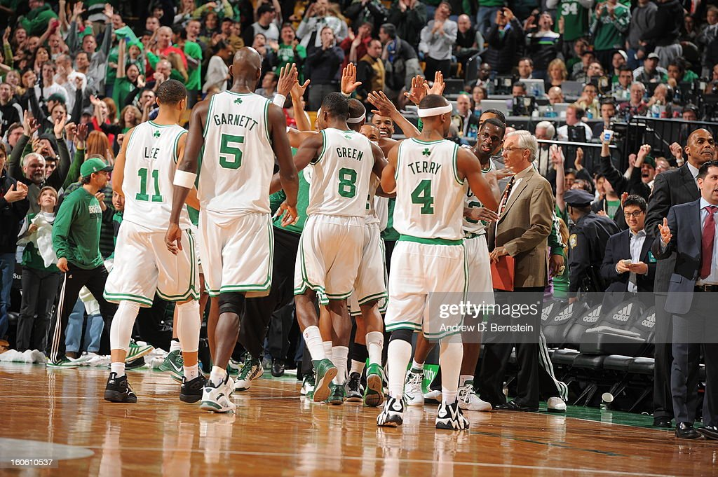 <a gi-track='captionPersonalityLinkClicked' href=/galleries/search?phrase=Kevin+Garnett&family=editorial&specificpeople=201473 ng-click='$event.stopPropagation()'>Kevin Garnett</a> #5 of the Boston Celtics and teammates celebrate during the game between the Boston Celtics and the Los Angeles Clippers on February 3, 2013 at the TD Garden in Boston, Massachusetts.