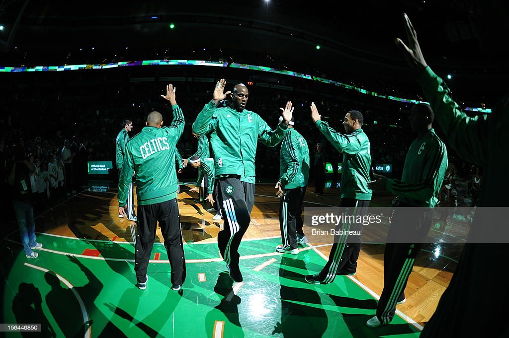 <a gi-track='captionPersonalityLinkClicked' href=/galleries/search?phrase=Kevin+Garnett&family=editorial&specificpeople=201473 ng-click='$event.stopPropagation()'>Kevin Garnett</a> #5 of the Boston Celtics announced before the game against the Utah Jazz on November 14, 2012 at the TD Garden in Boston, Massachusetts.