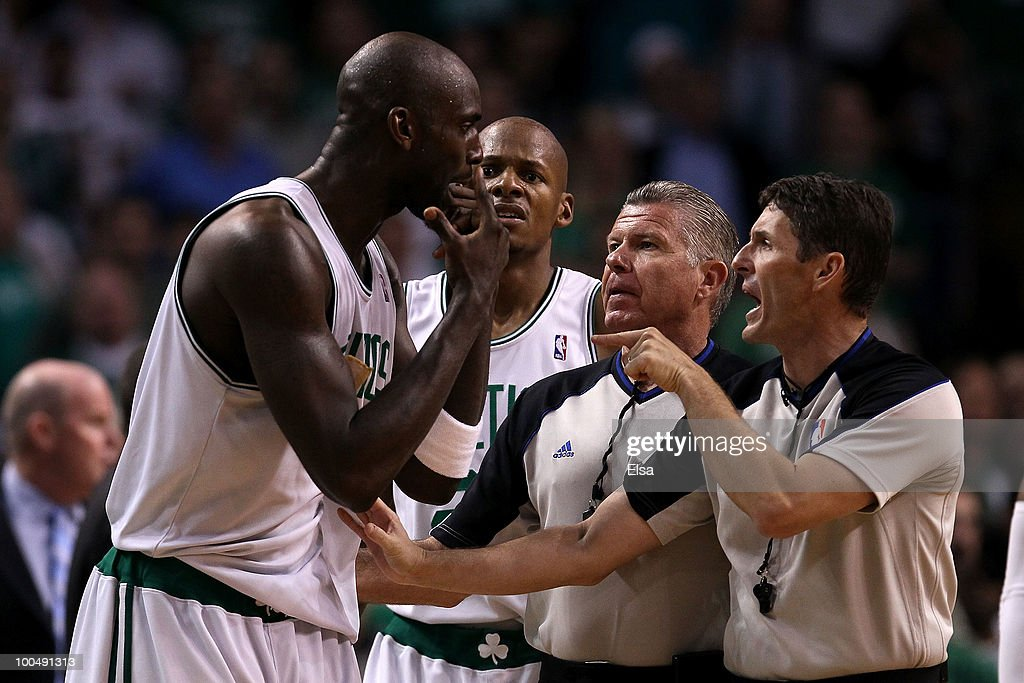 Kevin Garnett of the Boston Celtics argues with referees Scott Foster and Bob Delaney after Garnett was called for a technical foul in the third...