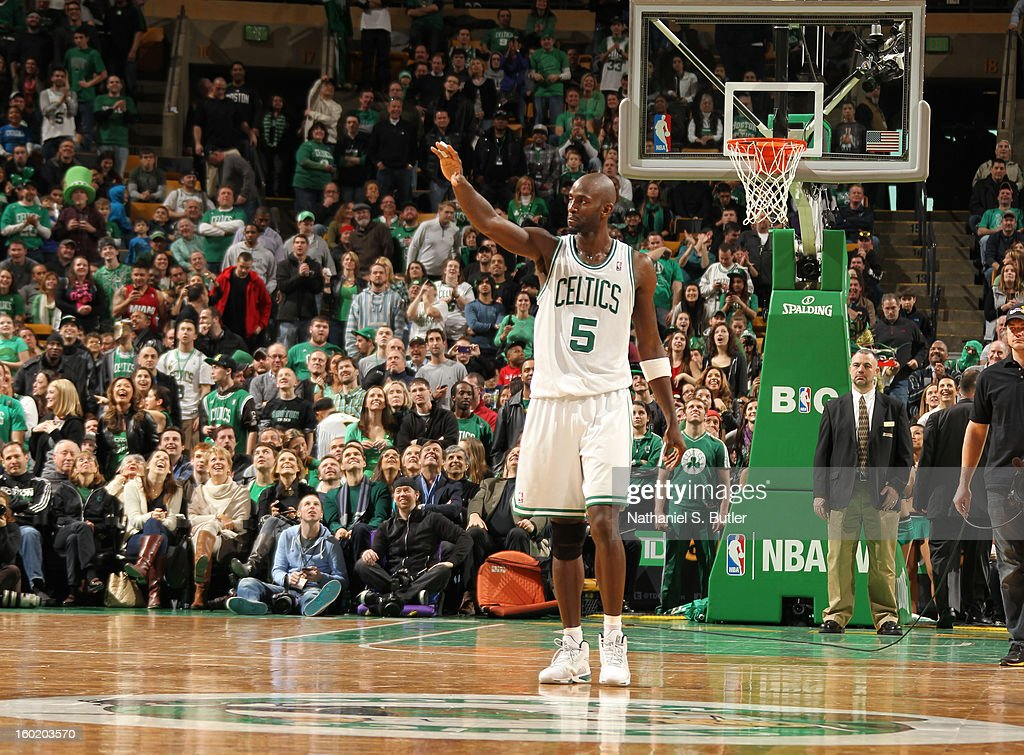 Kevin Garnett #5 of the Boston Celtics as he enters overtime against the Miami Heat on January 27, 2013 at TD Garden in Boston, Massachusetts.