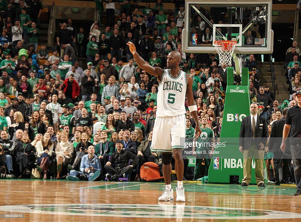 Kevin Garnett #5 of the Boston Celtics as he enters overtime against the Miami Heat on January 27, 2013 at TD Garden in Boston, Massachusetts.