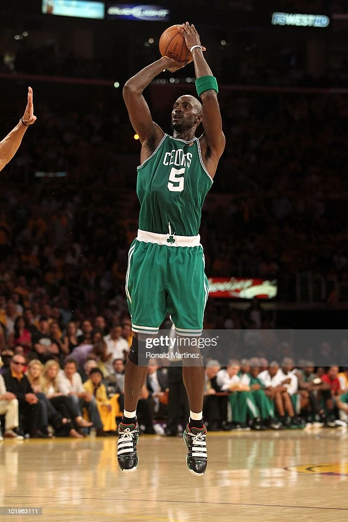 <a gi-track='captionPersonalityLinkClicked' href=/galleries/search?phrase=Kevin+Garnett&family=editorial&specificpeople=201473 ng-click='$event.stopPropagation()'>Kevin Garnett</a> #5 of the Boston Celtics attempts a shot against the Los Angeles Lakers in Game One of the 2010 NBA Finals at Staples Center on June 3, 2010 in Los Angeles, California.