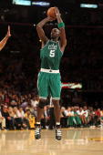 Kevin Garnett of the Boston Celtics attempts a shot against the Los Angeles Lakers in Game One of the 2010 NBA Finals at Staples Center on June 3...