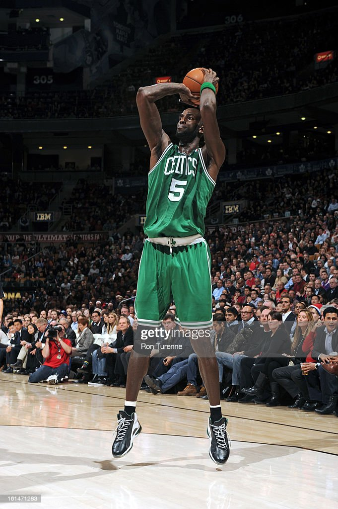 Kevin Garnett #5 of the Boston Celtics attempts a shot against the Toronto Raptors during the game on February 6, 2013 at the Air Canada Centre in Toronto, Ontario, Canada.