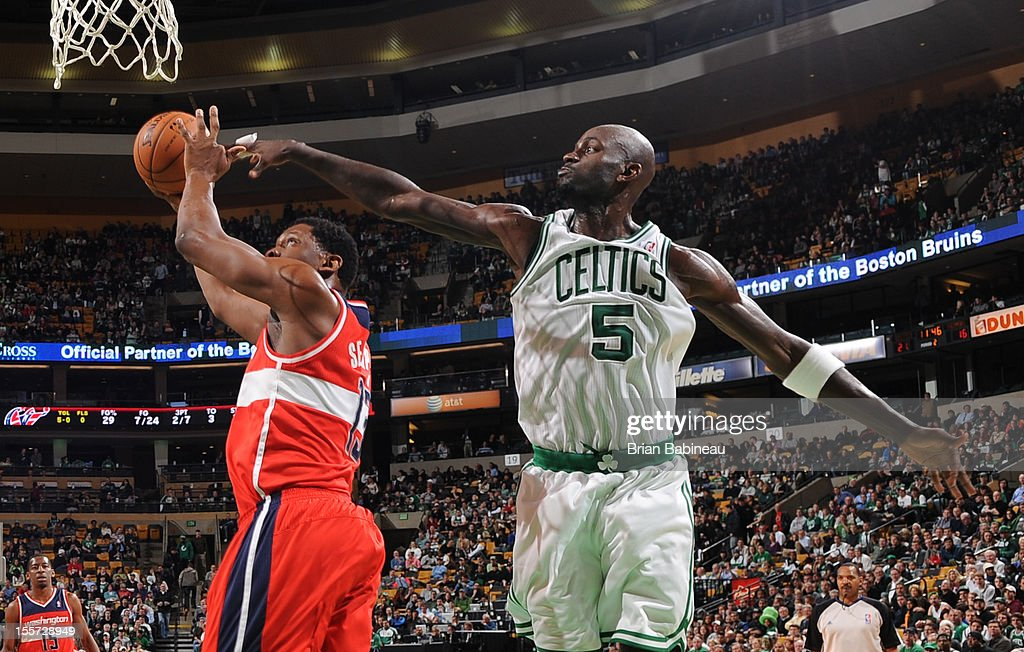 Kevin Garnett #5 of the Boston Celtics attempts to block Kevin Seraphin #13 shot of the Washington Wizards on November 7, 2012 at the TD Garden in Boston, Massachusetts.