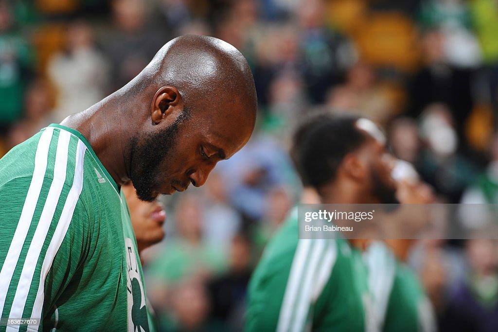 Kevin Garnett #5 of the Boston Celtics before the game against the Toronto Raptors on March 13, 2013 at the TD Garden in Boston, Massachusetts.