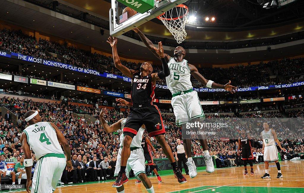 Kevin Garnett #5 of the Boston Celtics blocks a shot against Ray Allen #34 of the Miami Heat on January 27, 2013 at the TD Garden in Boston, Massachusetts.