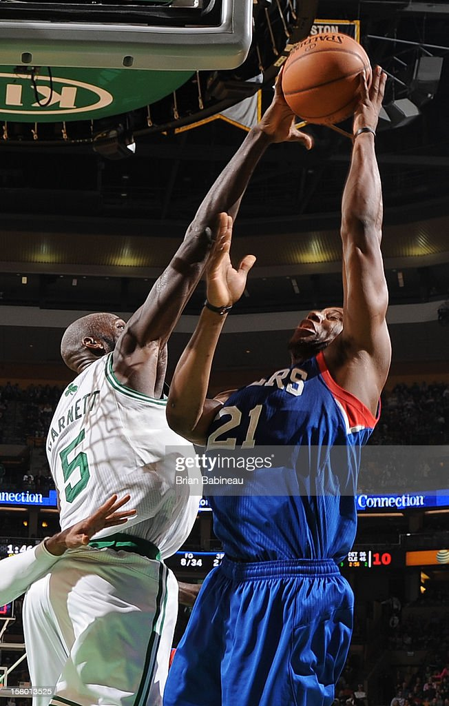 Kevin Garnett #5 of the Boston Celtics blocks a shot against Thaddeus Young #21 of the Philadelphia 76ers on December 8, 2012 at the TD Garden in Boston, Massachusetts.