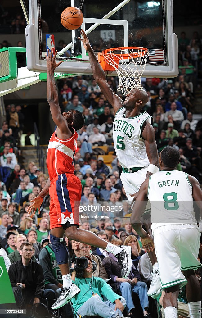 Kevin Garnett #5 of the Boston Celtics blocks a shot against the Washington Wizards on November 7, 2012 at the TD Garden in Boston, Massachusetts.