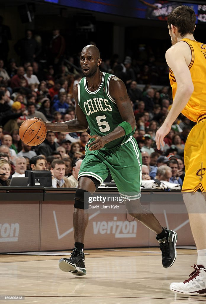 Kevin Garnett #5 of the Boston Celtics brings the ball up-court against the Cleveland Cavaliers at The Quicken Loans Arena on January 22, 2013 in Cleveland, Ohio.