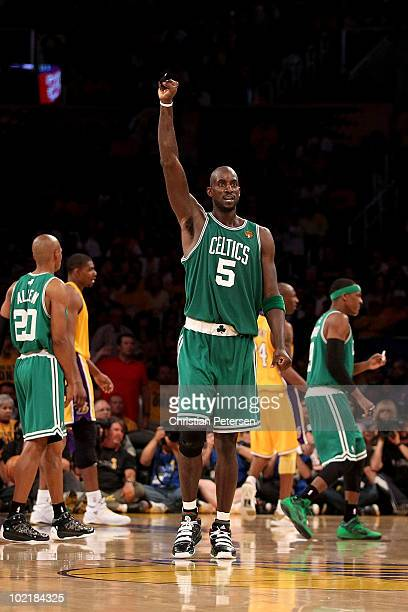 Kevin Garnett of the Boston Celtics celebrates a basket against the Los Angeles Lakers in Game Seven of the 2010 NBA Finals at Staples Center on June...