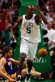 Kevin Garnett of the Boston Celtics celebrates a play over Pau Gasol of the Los Angeles Lakers in Game Six of the 2008 NBA Finals on June 17 2008 at...