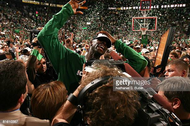 Kevin Garnett of the Boston Celtics celebrates after defeating the Los Angeles Lakers in Game Six of the 2008 NBA Finals on June 17 2008 at the TD...
