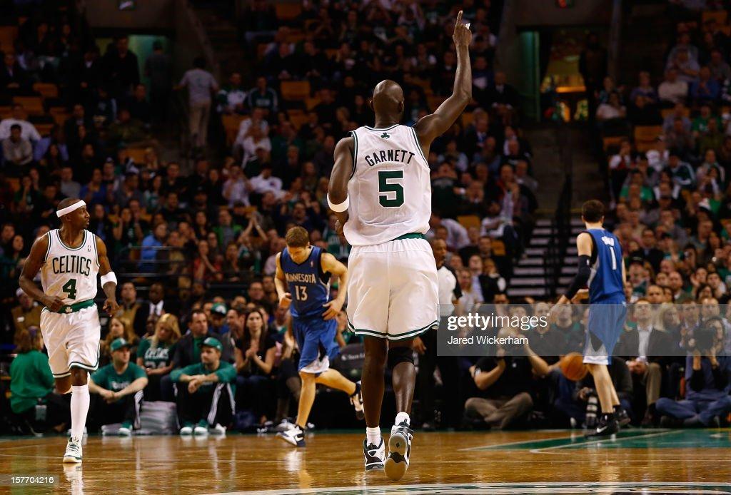 Kevin Garnett #5 of the Boston Celtics celebrates after making a shot against the Minnesota Timberwolves during the game on December 5, 2012 at TD Garden in Boston, Massachusetts.