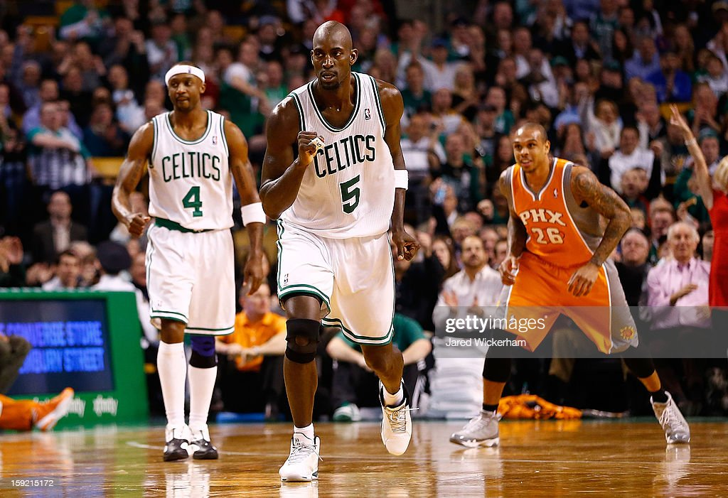 <a gi-track='captionPersonalityLinkClicked' href=/galleries/search?phrase=Kevin+Garnett&family=editorial&specificpeople=201473 ng-click='$event.stopPropagation()'>Kevin Garnett</a> #5 of the Boston Celtics celebrates after making a shot against the Phoenix Suns during the game on January 9, 2013 at TD Garden in Boston, Massachusetts.