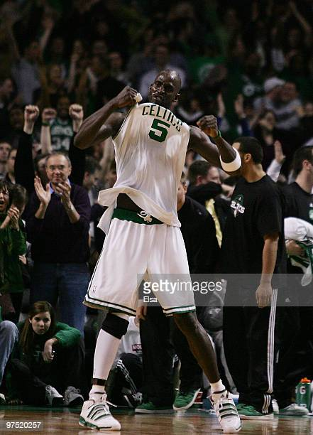 Kevin Garnett of the Boston Celtics celebrates the win over the Washington Wizards on March 7 2010 at the TD Garden in Boston Massachusetts The...