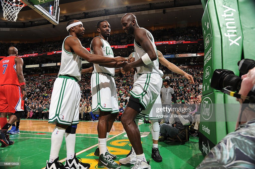 Kevin Garnett #5 of the Boston Celtics celebrates with teammates during the game between the Boston Celtics and the Los Angeles Clippers on February 3, 2013 at the TD Garden in Boston, Massachusetts.