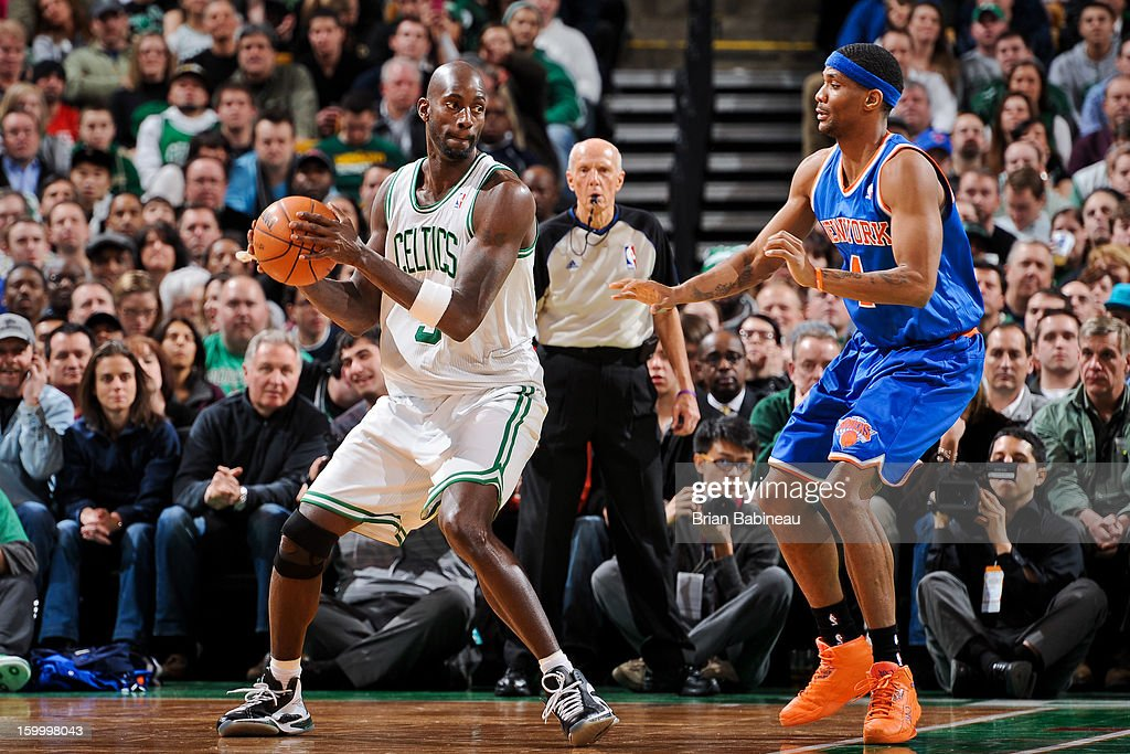 Kevin Garnett #5 of the Boston Celtics controls the ball against James White #4 of the New York Knicks on January 24, 2013 at the TD Garden in Boston, Massachusetts.