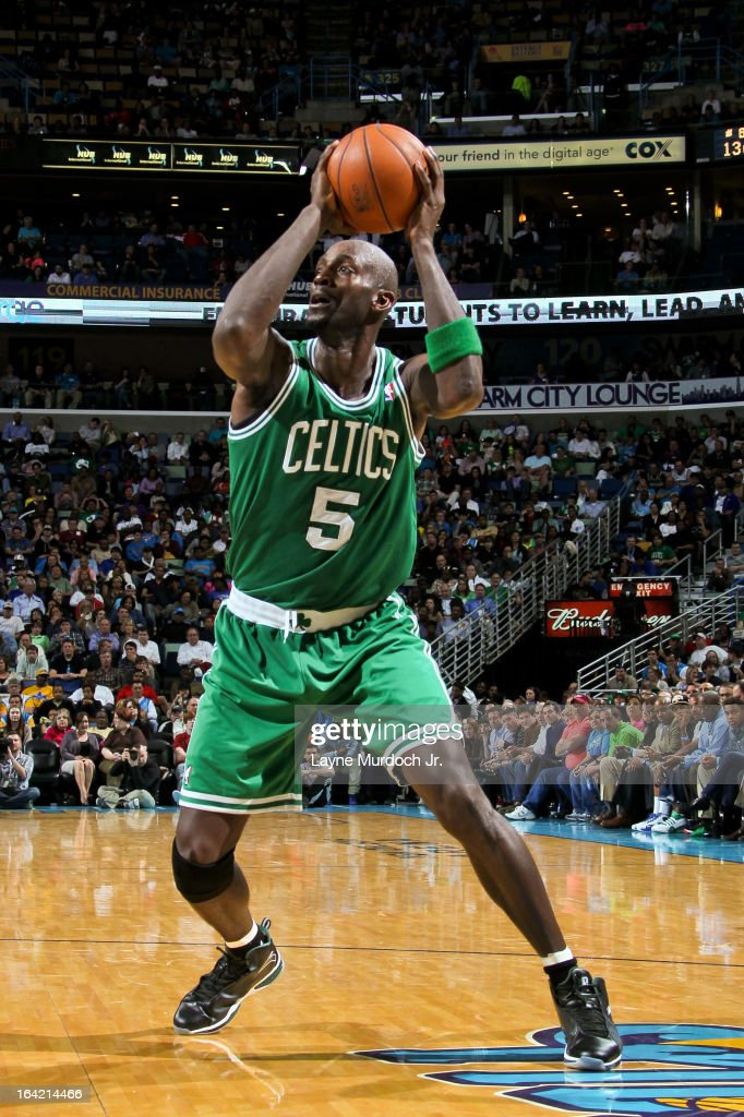 Kevin Garnett #5 of the Boston Celtics controls the ball against the New Orleans Hornets on March 20, 2013 at the New Orleans Arena in New Orleans, Louisiana.