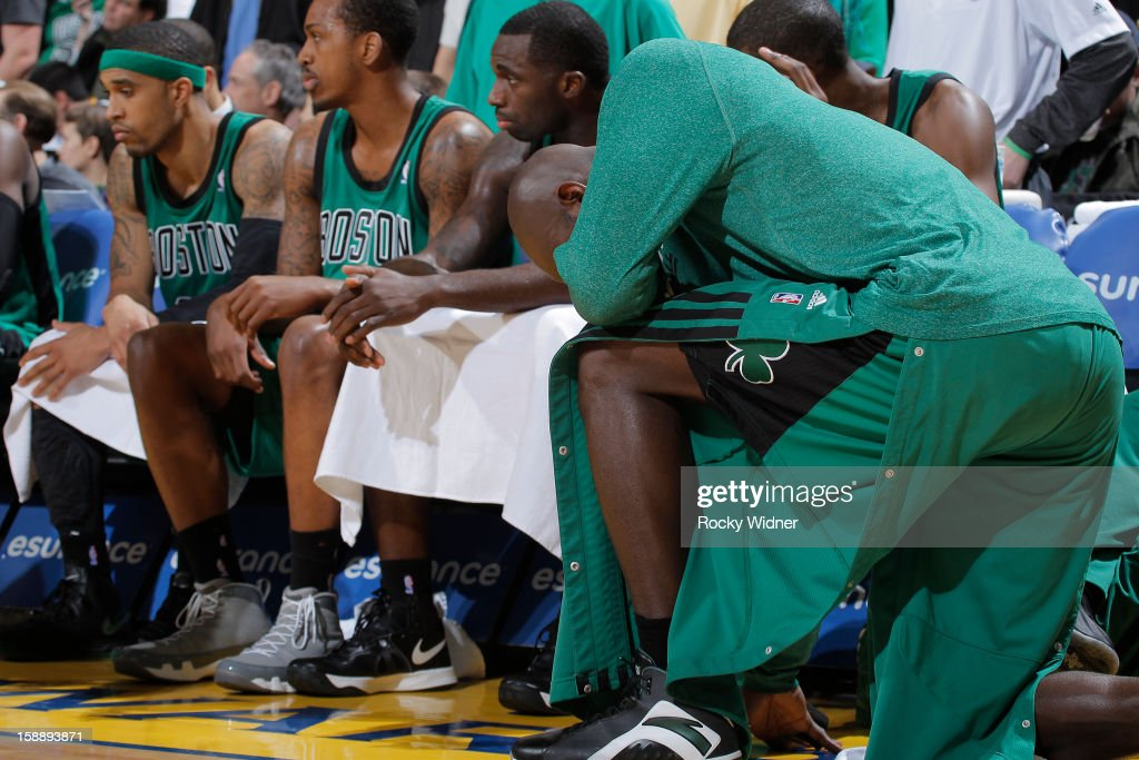 <a gi-track='captionPersonalityLinkClicked' href=/galleries/search?phrase=Kevin+Garnett&family=editorial&specificpeople=201473 ng-click='$event.stopPropagation()'>Kevin Garnett</a> #5 of the Boston Celtics disappointed during the game against the Golden State Warriors on December 29, 2012 at Oracle Arena in Oakland, California.