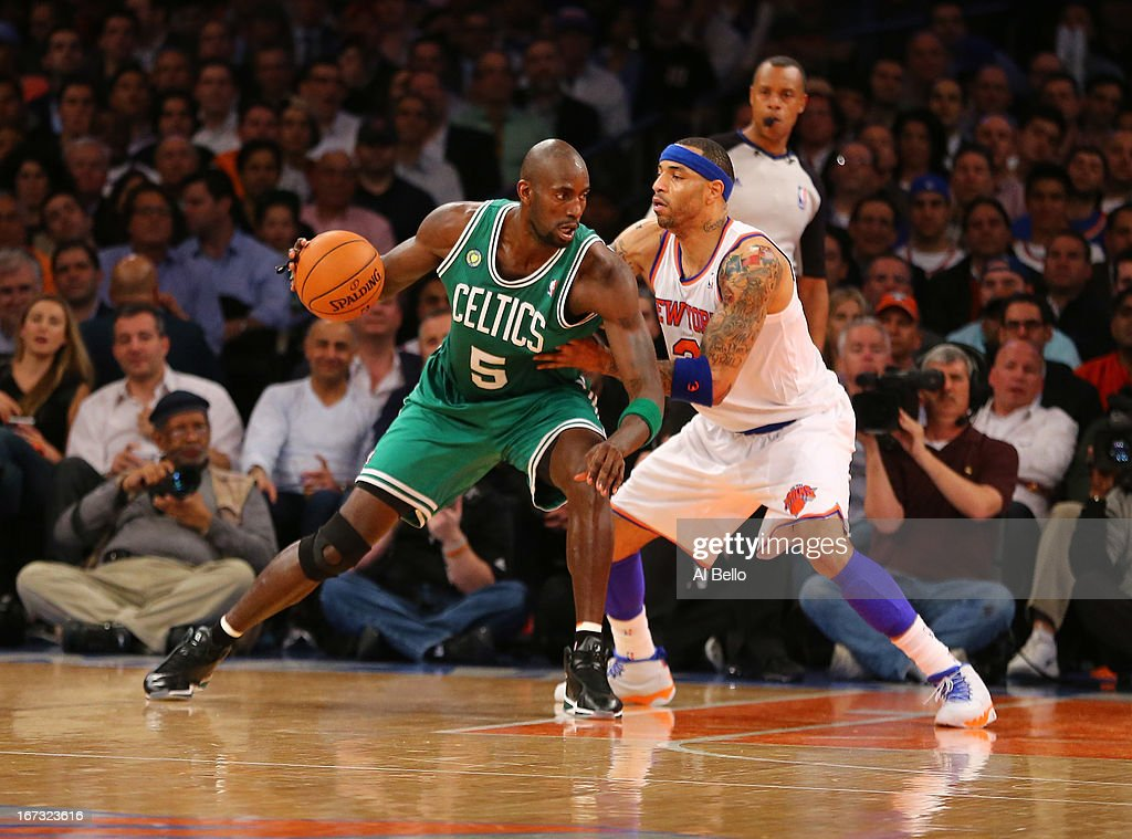 Kevin Garnett #5 of the Boston Celtics dribbles against Kenyon Martin #3 of the New York Knicks during Game two of the Eastern Conference Quarterfinals of the 2013 NBA Playoffs at Madison Square Garden on April 23, 2013 in New York City.