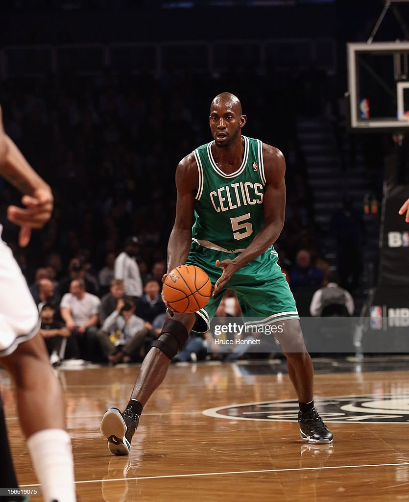 Kevin Garnett #5 of the Boston Celtics dribbles the ball against the Brooklyn Nets at the Barclays Center on November 15, 2012 in the Brooklyn borough of New York City.