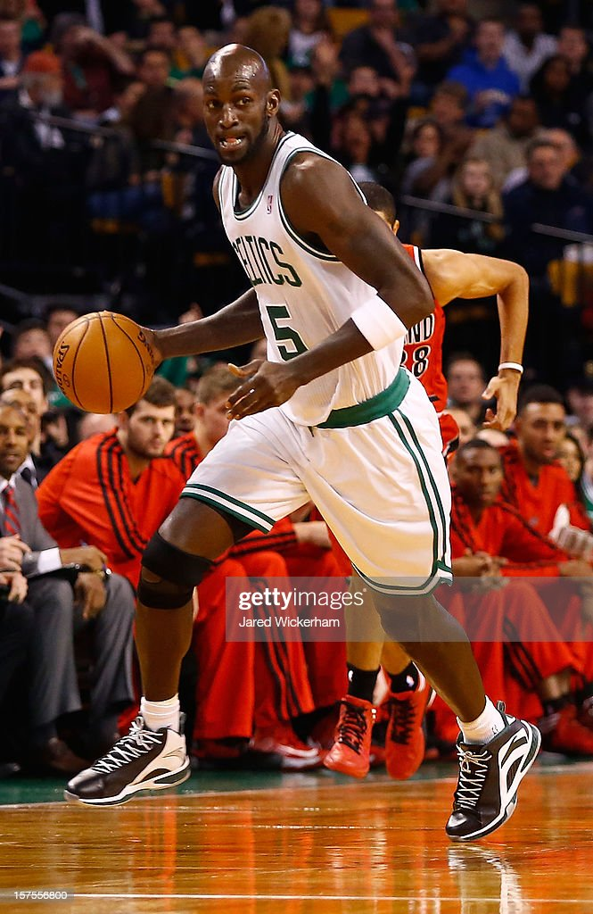 Kevin Garnett #5 of the Boston Celtics dribbles the ball against the Portland Trail Blazers during the game on November 30, 2012 at TD Garden in Boston, Massachusetts.