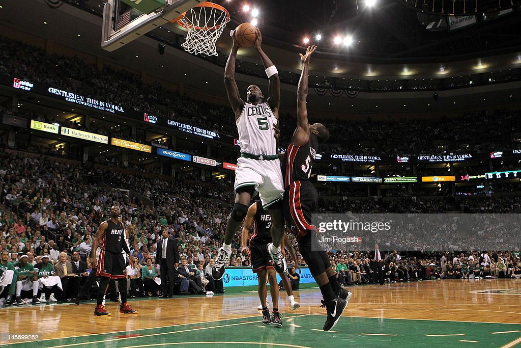 <a gi-track='captionPersonalityLinkClicked' href=/galleries/search?phrase=Kevin+Garnett&family=editorial&specificpeople=201473 ng-click='$event.stopPropagation()'>Kevin Garnett</a> #5 of the Boston Celtics drives for a shot attempt against <a gi-track='captionPersonalityLinkClicked' href=/galleries/search?phrase=Joel+Anthony&family=editorial&specificpeople=4092295 ng-click='$event.stopPropagation()'>Joel Anthony</a> #50 of the Miami Heat in Game Four of the Eastern Conference Finals in the 2012 NBA Playoffs on June 3, 2012 at TD Garden in Boston, Massachusetts.