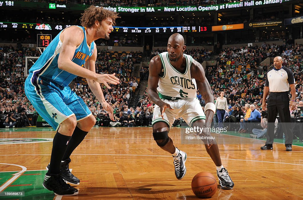 Kevin Garnett #5 of the Boston Celtics drives the ball against the New Orleans Hornets on January 16, 2013 at the TD Garden in Boston, Massachusetts.