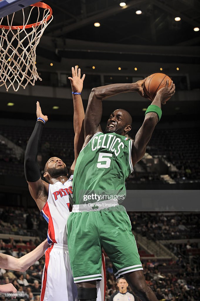 Kevin Garnett #5 of the Boston Celtics drives to the basket against Greg Monroe #10 of the Detroit Pistons on November 18, 2012 at The Palace of Auburn Hills in Auburn Hills, Michigan.