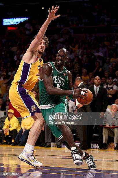Kevin Garnett of the Boston Celtics drives to the basket against Pau Gasol of the Los Angeles Lakers in Game Six of the 2010 NBA Finals at Staples...