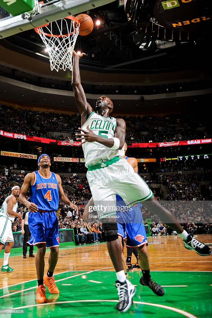 Kevin Garnett #5 of the Boston Celtics drives to the basket against the New York Knicks on January 24, 2013 at the TD Garden in Boston, Massachusetts.