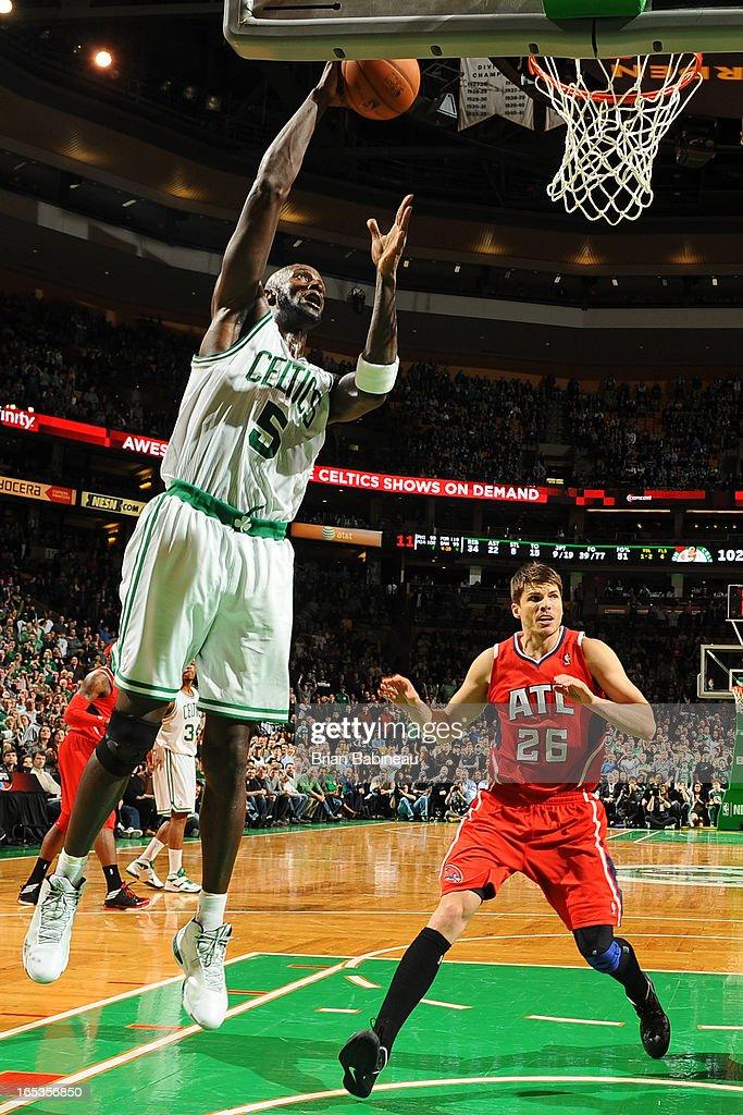 Kevin Garnett #5 of the Boston Celtics drives to the basket against the Atlanta Hawks on March 8, 2013 at the TD Garden in Boston, Massachusetts.