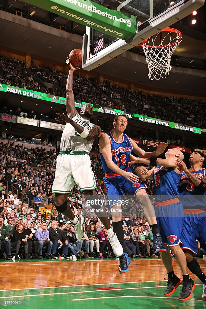 Kevin Garnett #5 of the Boston Celtics drives to the basket against the New York Knicks in Game Three of the Eastern Conference Quarterfinals during the 2013 NBA Playoffs on April 26, 2013 at the TD Garden in Boston.