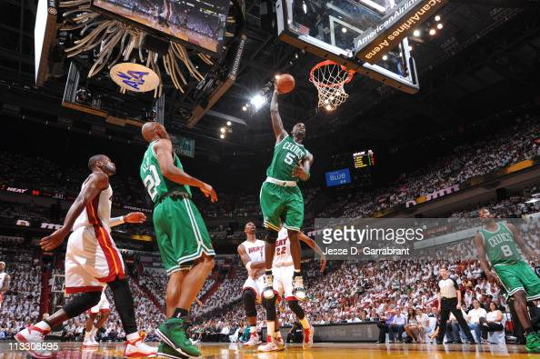 Kevin Garnett of the Boston Celtics dunks against the Miami Heat in Game One of the Eastern Conference Semifinals in the 2011 NBA Playoffs on May 1...