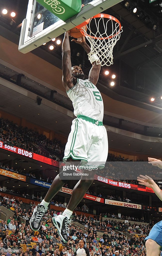 Kevin Garnett #5 of the Boston Celtics dunks against the Minnesota Timberwolves on December 5, 2012 at the TD Garden in Boston, Massachusetts.