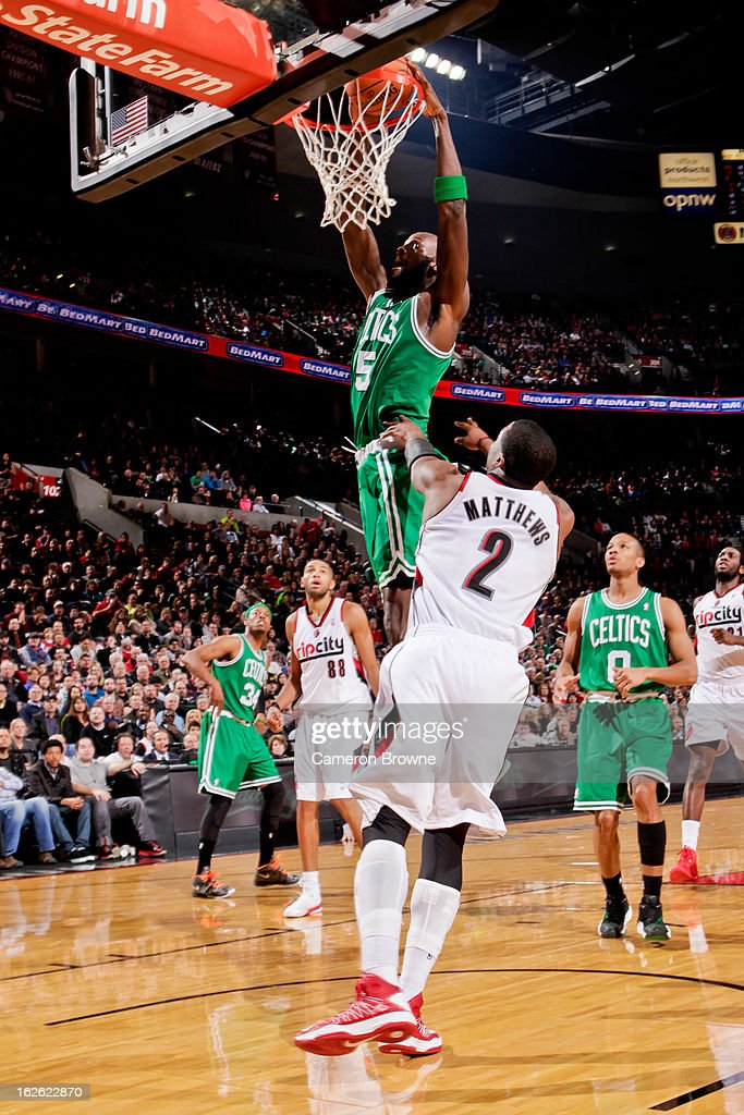 Kevin Garnett #5 of the Boston Celtics dunks against Wesley Matthews #2 of the Portland Trail Blazers on February 24, 2013 at the Rose Garden Arena in Portland, Oregon.