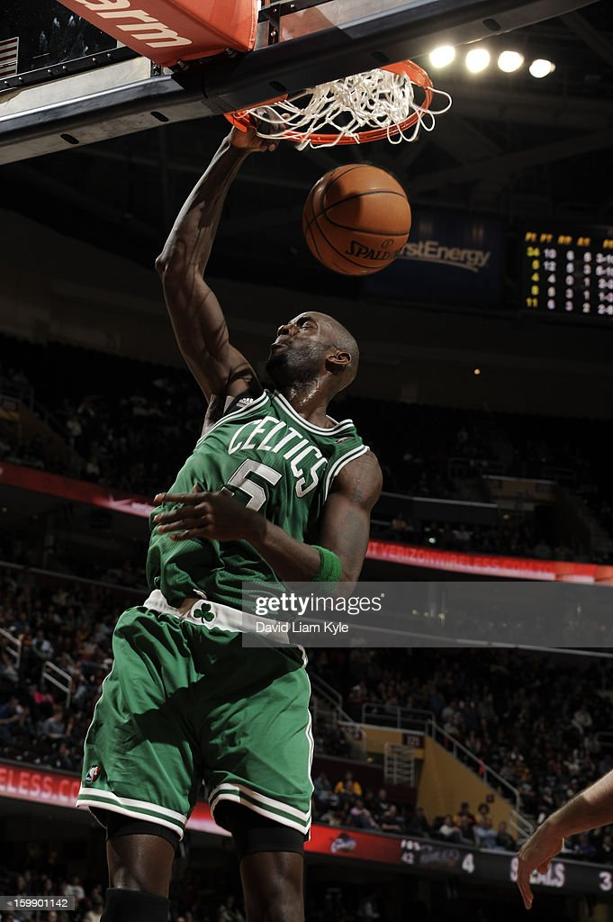 Kevin Garnett #5 of the Boston Celtics dunks the ball against the Cleveland Cavaliers at The Quicken Loans Arena on January 22, 2013 in Cleveland, Ohio.