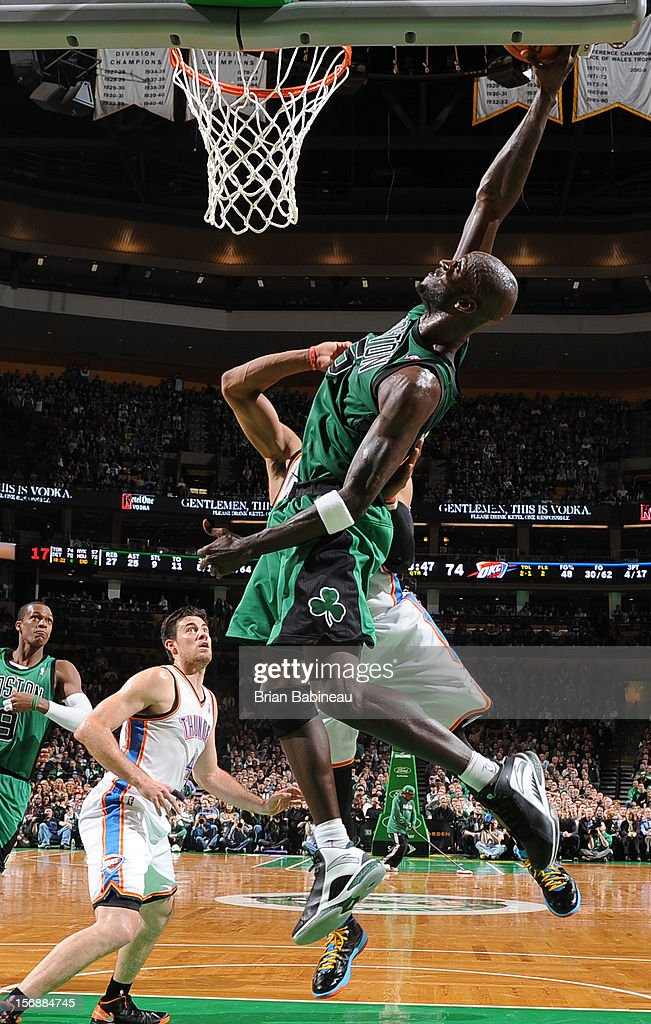 Kevin Garnett #5 of the Boston Celtics dunks the ball against the Oklahoma City Thunder on November 23, 2012 at the TD Garden in Boston, Massachusetts.