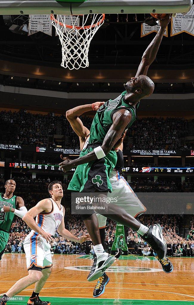 Kevin Garnett #5 of the Boston Celtics dunks the ball against the Oklahoma City Thunder on November 23, 2012 at the TD Garden in Boston, Massachusetts.