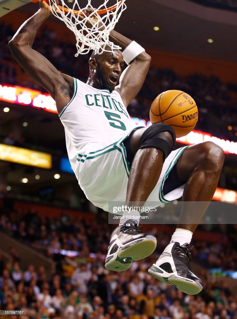 Kevin Garnett #5 of the Boston Celtics dunks the ball against the Brooklyn Nets during the game on November 28, 2012 at TD Garden in Boston, Massachusetts.