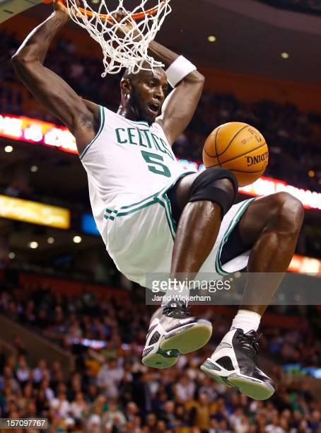 Kevin Garnett of the Boston Celtics dunks the ball against the Brooklyn Nets during the game on November 28 2012 at TD Garden in Boston Massachusetts...