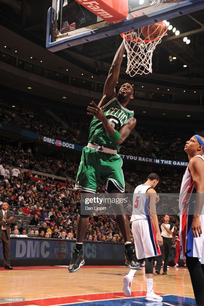 Kevin Garnett #5 of the Boston Celtics dunks the ball against the Detroit Pistons on January 20, 2013 at The Palace of Auburn Hills in Auburn Hills, Michigan.