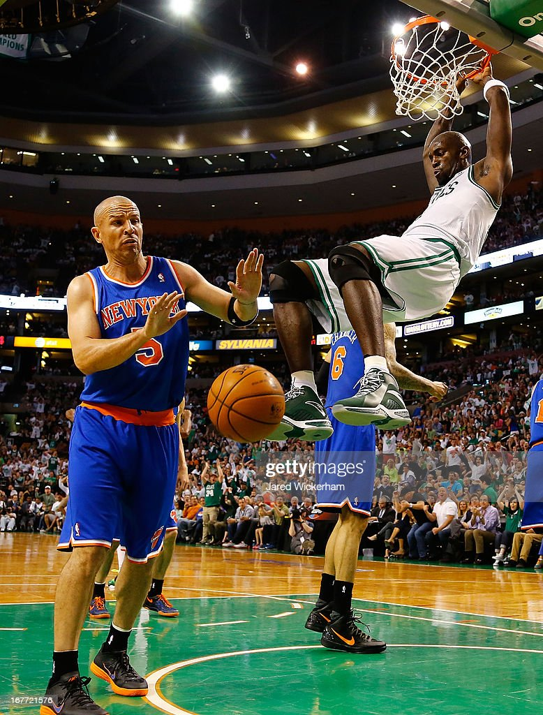 Kevin Garnett #5 of the Boston Celtics dunks the ball in front of Jason Kidd #5 of the New York Knicks during Game Four of the Eastern Conference Quarterfinals of the 2013 NBA Playoffs on April 28, 2013 at TD Garden in Boston, Massachusetts.